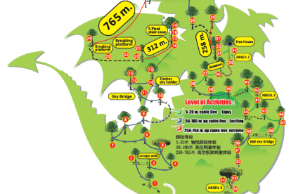 Dragon Flight Zipline Adventure Course Map