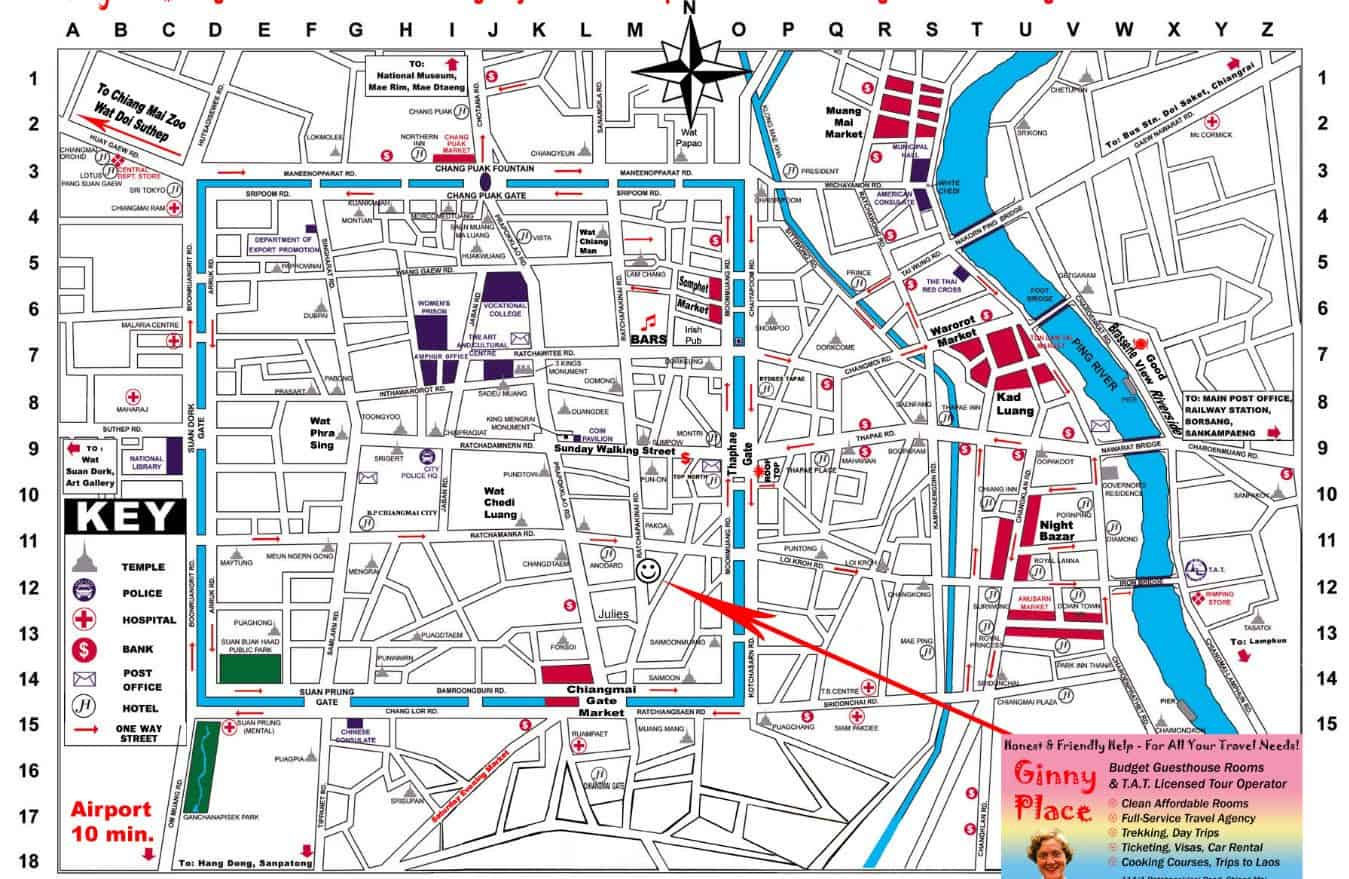 Chiang Mai Maps Old City Sightseeing Night Bazaar Street Market